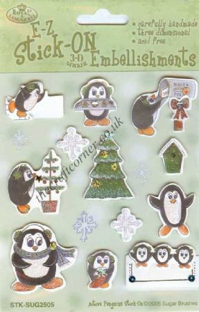 Active Penguins Decorating A Christmas Tree & Ice Skating 3d Sticker Embellishments